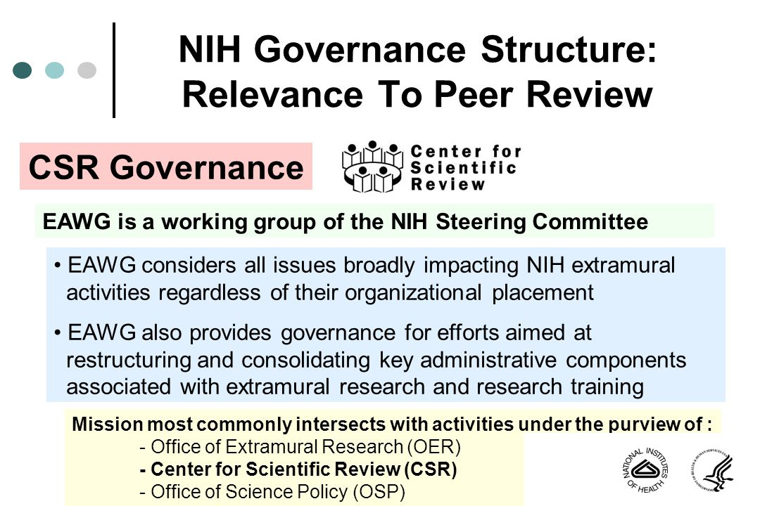 NIH Governance Structure: Relevance To Peer Review EAWG is a working group of the NIH Steering Committee EAWG considers all issues broadly impacting N