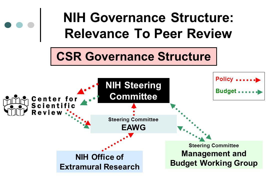 NIH Governance Structure: Relevance To Peer Review Steering Committee EAWG NIH Steering Committee CSR Governance Structure Steering Committee Management and Budget Working Group Policy Budget NIH Office of Extramural Research