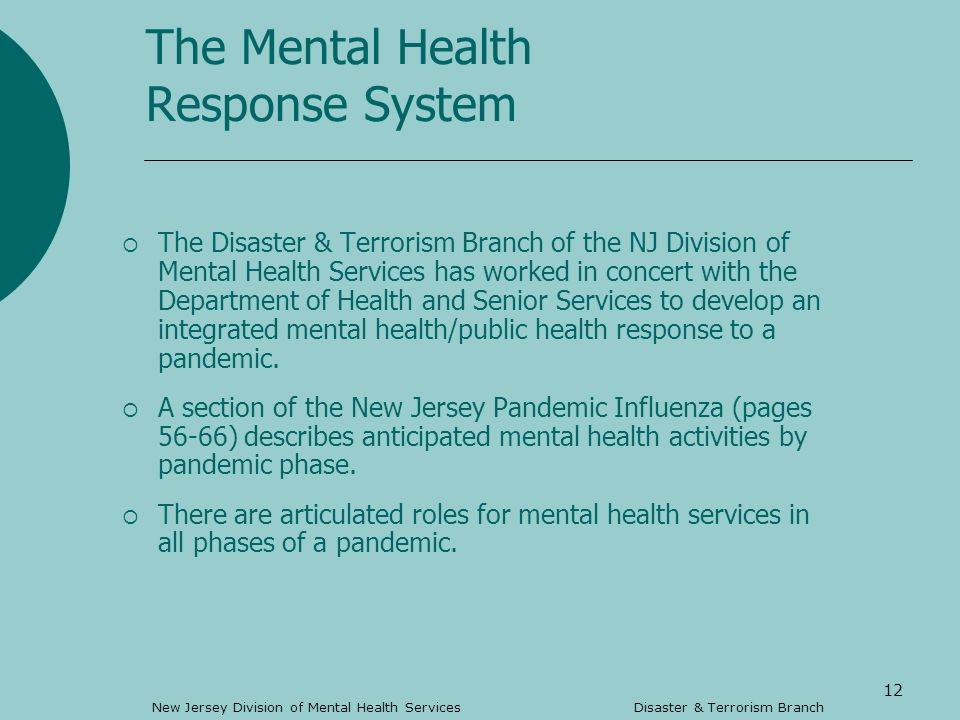 12 The Mental Health Response System The Disaster & Terrorism Branch of the NJ Division of Mental Health Services has worked in concert with the Department of Health and Senior Services to develop an integrated mental health/public health response to a pandemic.