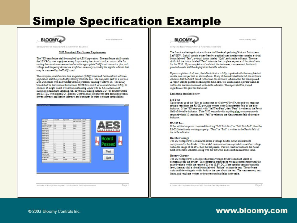 www.bloomy.com © 2003 Bloomy Controls Inc. Simple Specification Example