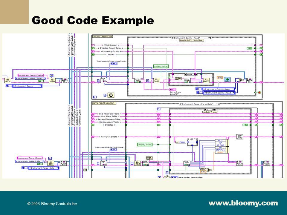 www.bloomy.com © 2003 Bloomy Controls Inc. Good Code Example