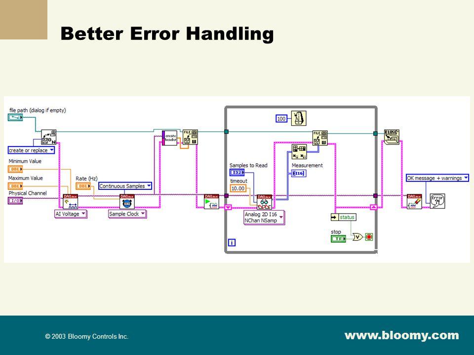 www.bloomy.com © 2003 Bloomy Controls Inc. Better Error Handling