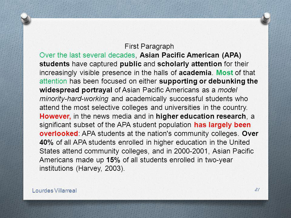 First Paragraph Over the last several decades, Asian Pacific American (APA) students have captured public and scholarly attention for their increasing