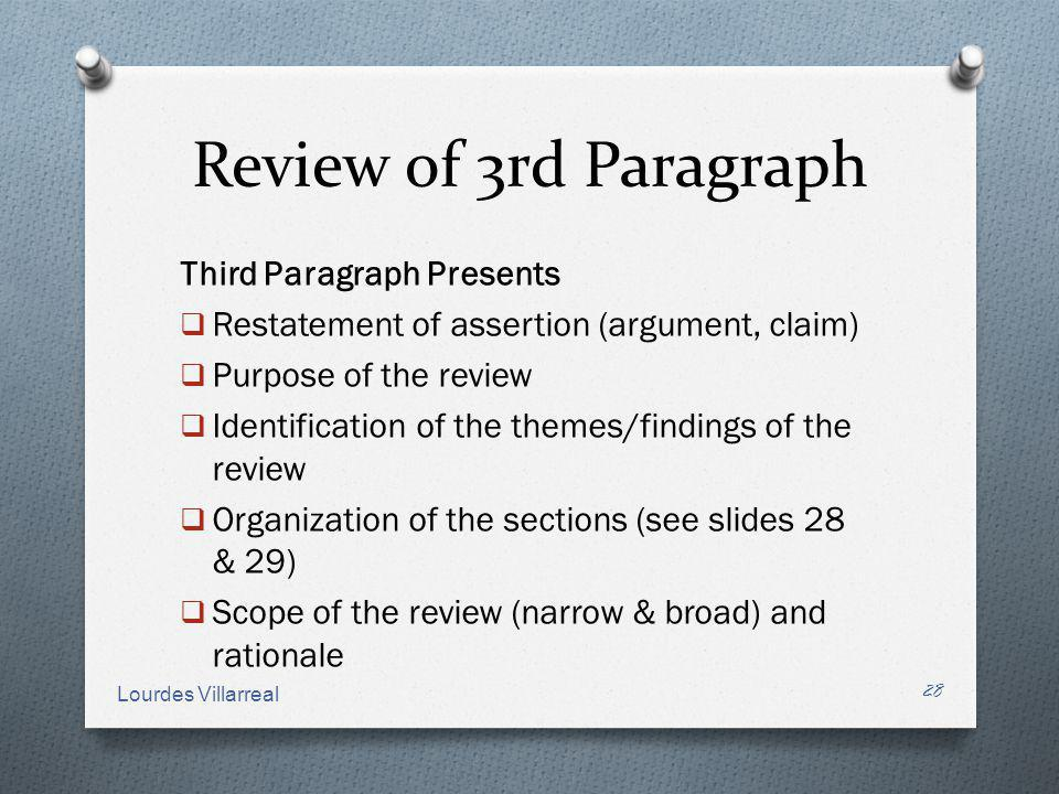 Review of 3rd Paragraph Third Paragraph Presents Restatement of assertion (argument, claim) Purpose of the review Identification of the themes/finding