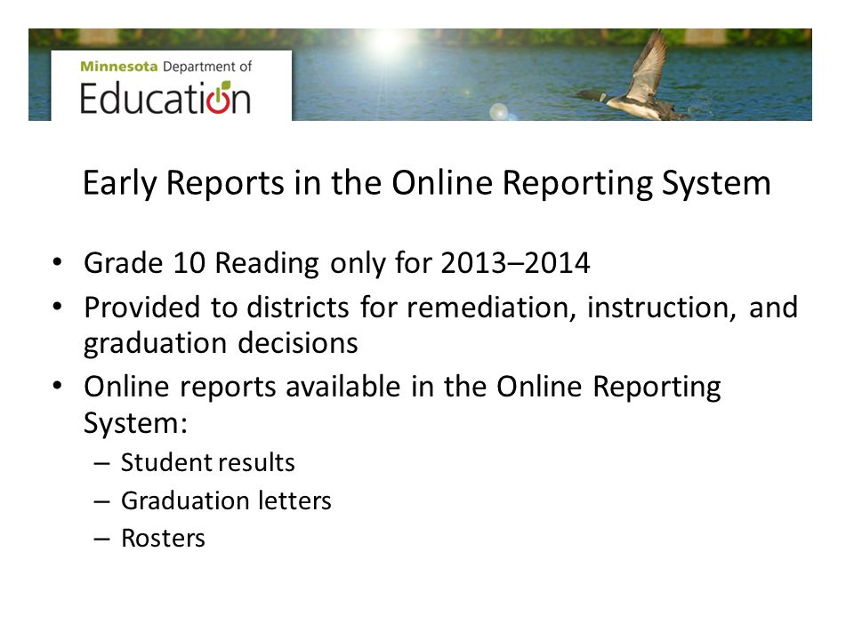 Early Reports in the Online Reporting System Grade 10 Reading only for 2013–2014 Provided to districts for remediation, instruction, and graduation de