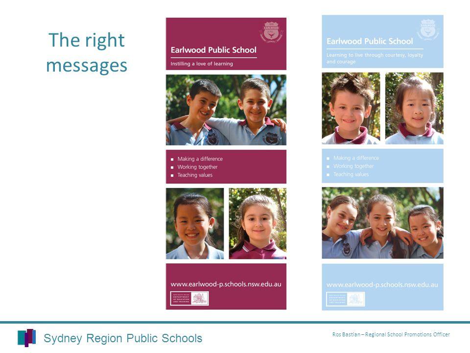 Sydney Region Public Schools Ros Bastian – Regional School Promotions Officer The right messages