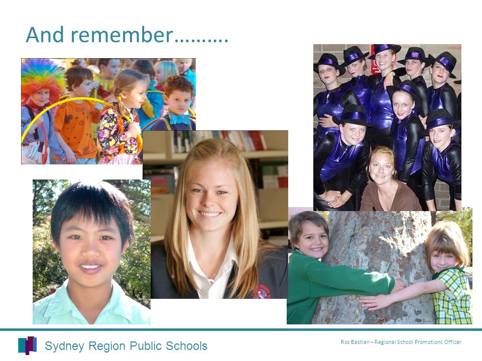 Sydney Region Public Schools Ros Bastian – Regional School Promotions Officer And remember……….