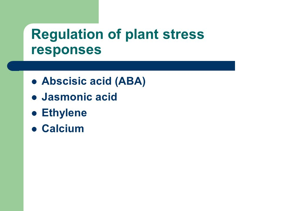 Regulation of plant stress responses Abscisic acid (ABA) Jasmonic acid Ethylene Calcium