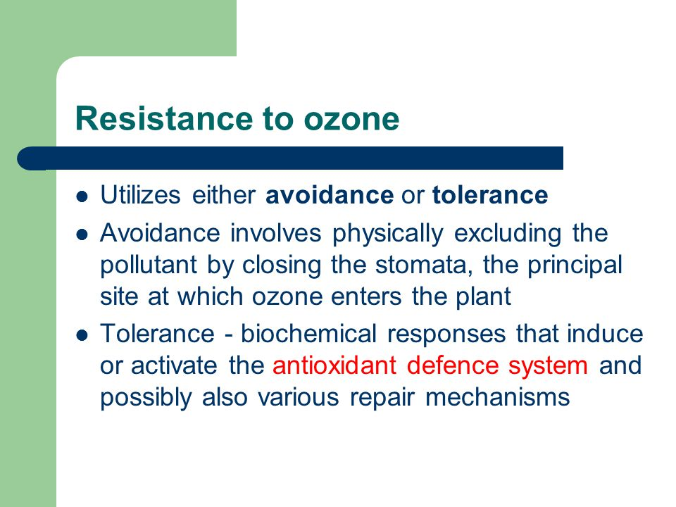 Resistance to ozone Utilizes either avoidance or tolerance Avoidance involves physically excluding the pollutant by closing the stomata, the principal