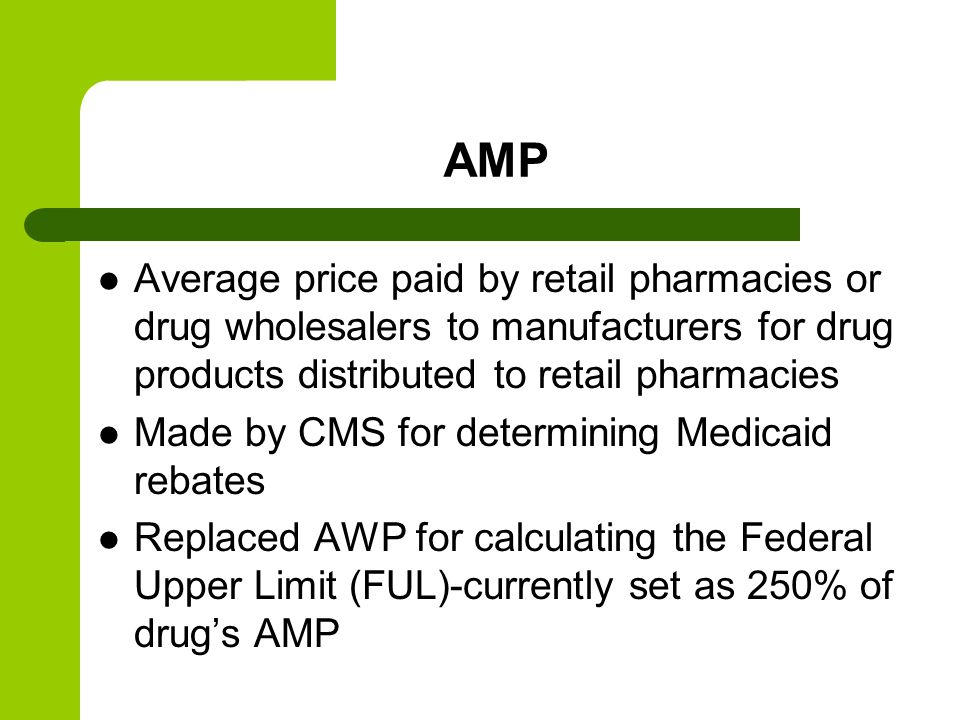 AMP Average price paid by retail pharmacies or drug wholesalers to manufacturers for drug products distributed to retail pharmacies Made by CMS for determining Medicaid rebates Replaced AWP for calculating the Federal Upper Limit (FUL)-currently set as 250% of drugs AMP