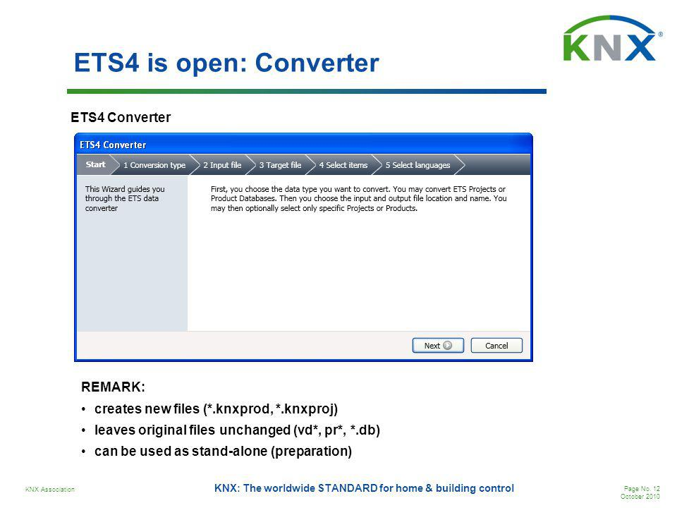 KNX Association Page No. 12 October 2010 KNX: The worldwide STANDARD for home & building control ETS4 is open: Converter ETS4 Converter REMARK: create