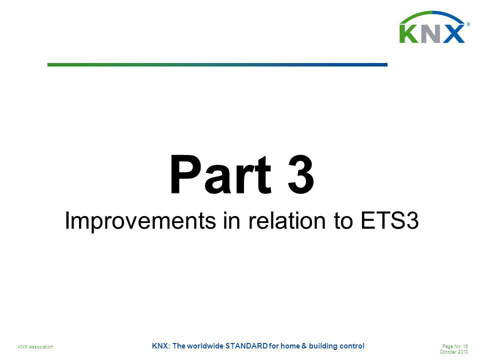 KNX Association Page No. 16 October 2010 KNX: The worldwide STANDARD for home & building control Part 3 Improvements in relation to ETS3