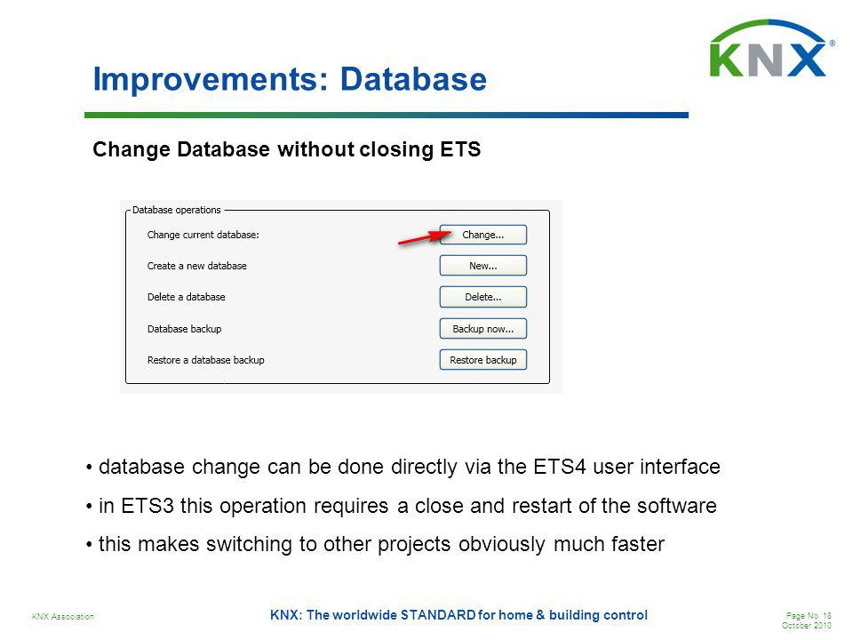 KNX Association Page No. 18 October 2010 KNX: The worldwide STANDARD for home & building control Improvements: Database Change Database without closin