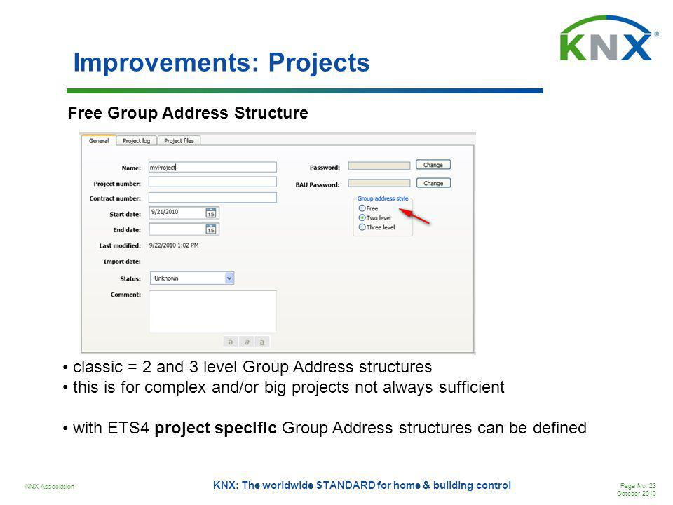 KNX Association Page No. 23 October 2010 KNX: The worldwide STANDARD for home & building control Improvements: Projects Free Group Address Structure c