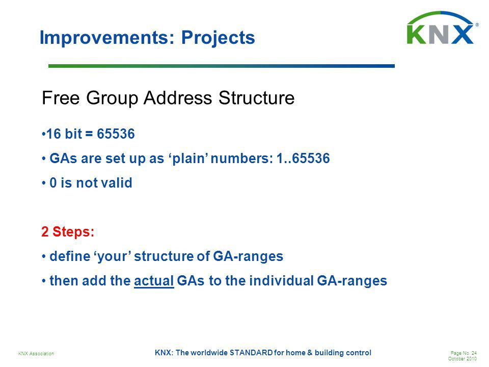 KNX Association Page No. 24 October 2010 KNX: The worldwide STANDARD for home & building control Improvements: Projects 16 bit = 65536 GAs are set up