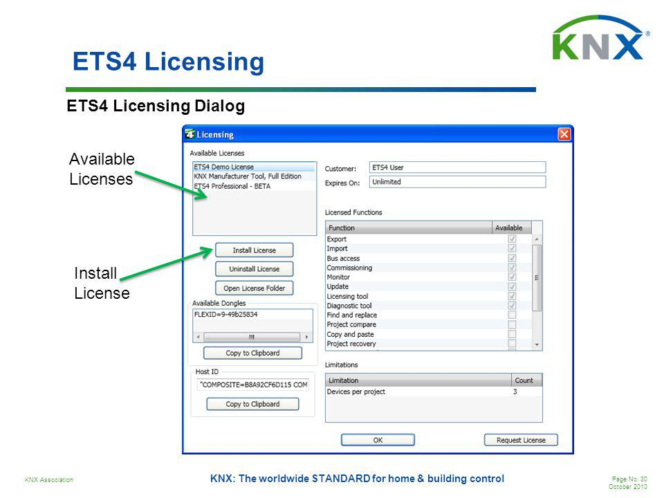 KNX Association Page No. 30 October 2010 KNX: The worldwide STANDARD for home & building control ETS4 Licensing ETS4 Licensing Dialog Available Licens