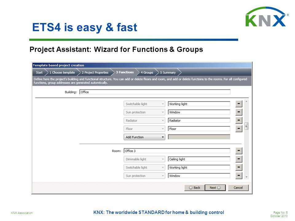 KNX Association Page No. 5 October 2010 KNX: The worldwide STANDARD for home & building control ETS4 is easy & fast Project Assistant: Wizard for Func