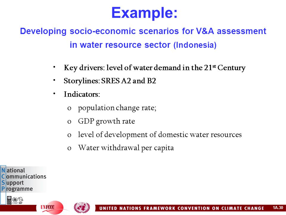 1A.30 Example: Developing socio-economic scenarios for V&A assessment in water resource sector (Indonesia) Key drivers: level of water demand in the 21 st Century Storylines: SRES A2 and B2 Indicators: opopulation change rate; oGDP growth rate olevel of development of domestic water resources oWater withdrawal per capita