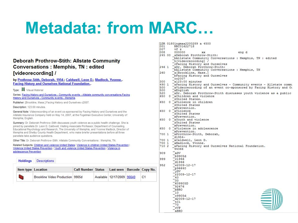 Metadata: from MARC…