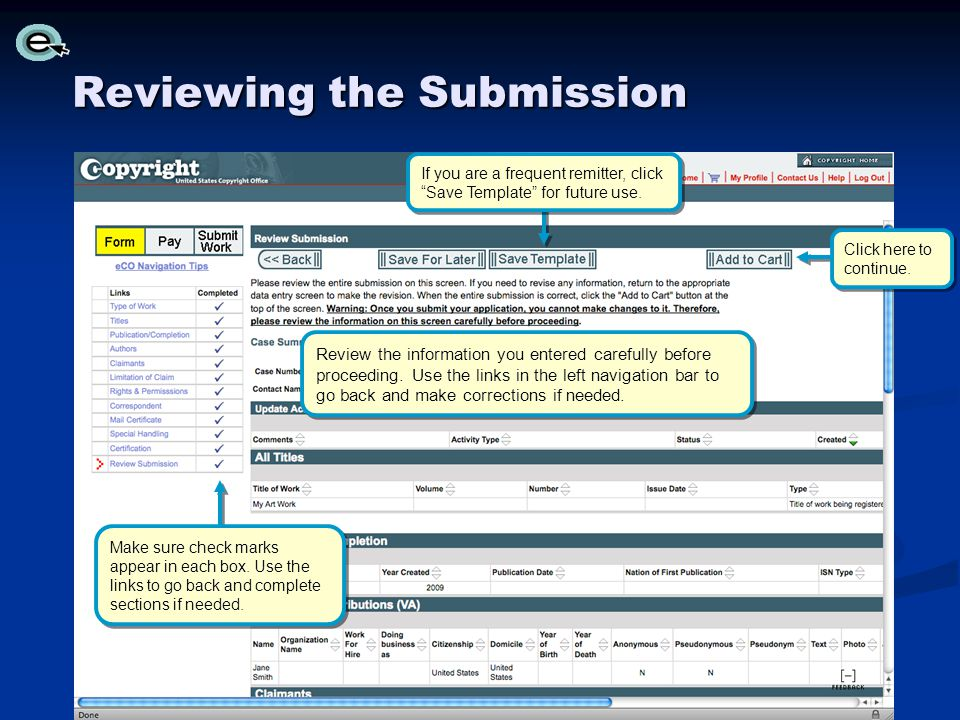 Reviewing the Submission Click here to continue.