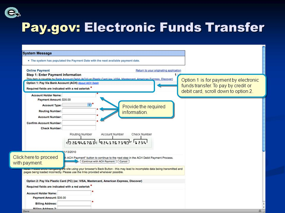 Pay.gov: Electronic Funds Transfer Click here to proceed with payment.