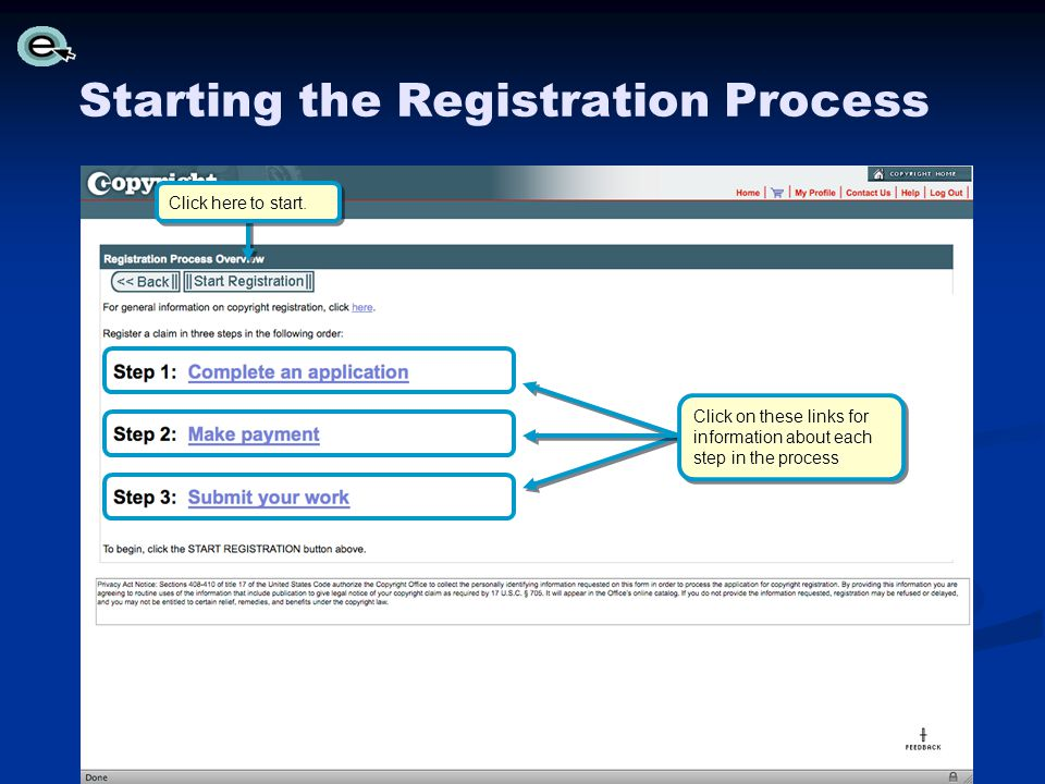 Starting the Registration Process Click here to start.