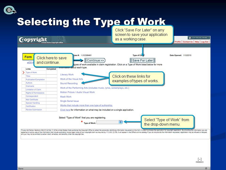 Selecting the Type of Work Click Save For Later on any screen to save your application as a working case.
