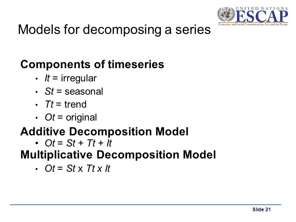 Slide 21 Models for decomposing a series Components of timeseries It = irregular St = seasonal Tt = trend Ot = original Additive Decomposition Model O