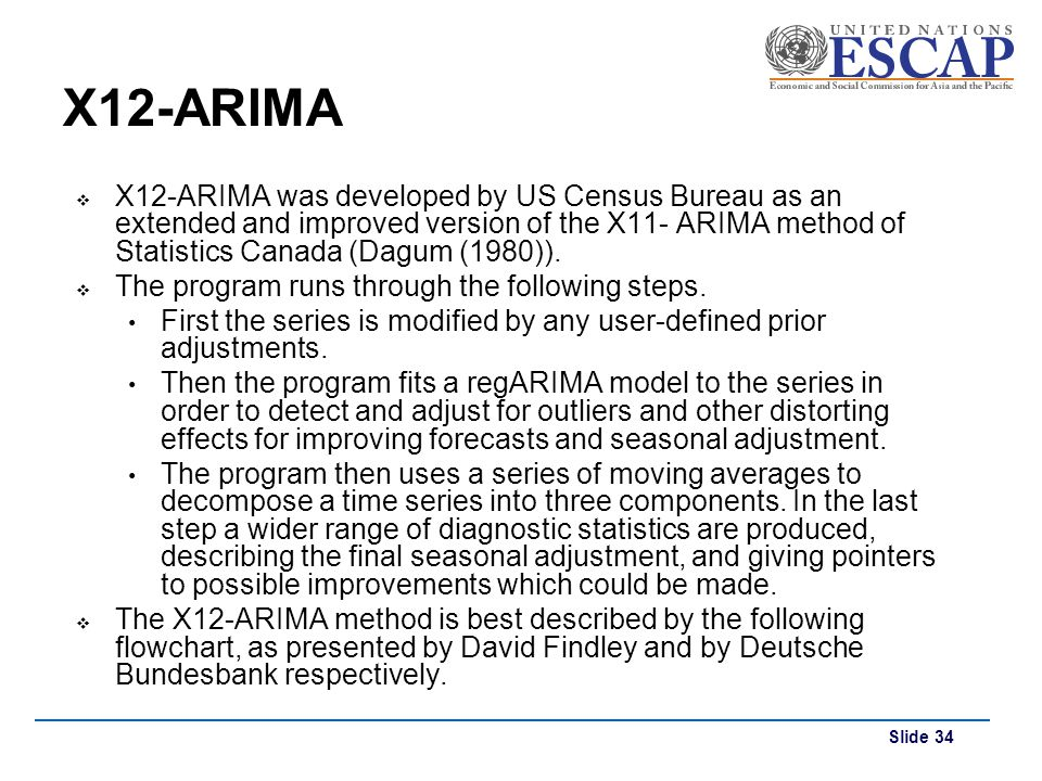 Slide 34 X12-ARIMA X12-ARIMA was developed by US Census Bureau as an extended and improved version of the X11- ARIMA method of Statistics Canada (Dagu