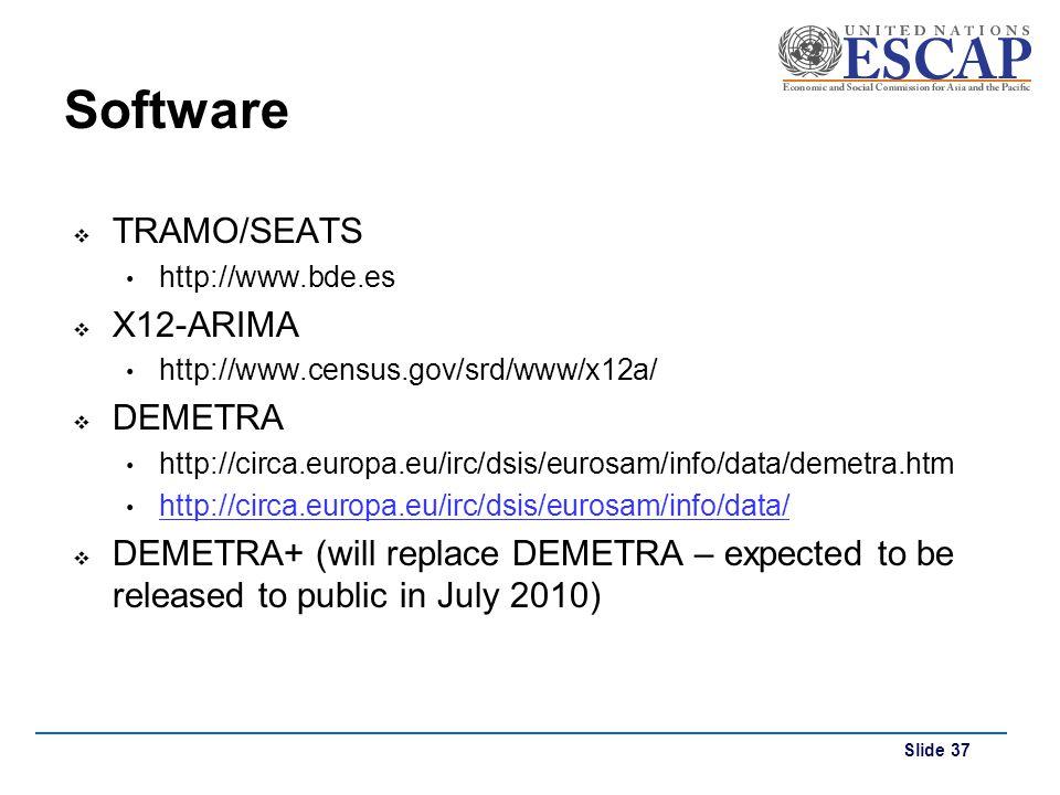 Slide 37 Software TRAMO/SEATS http://www.bde.es X12-ARIMA http://www.census.gov/srd/www/x12a/ DEMETRA http://circa.europa.eu/irc/dsis/eurosam/info/dat