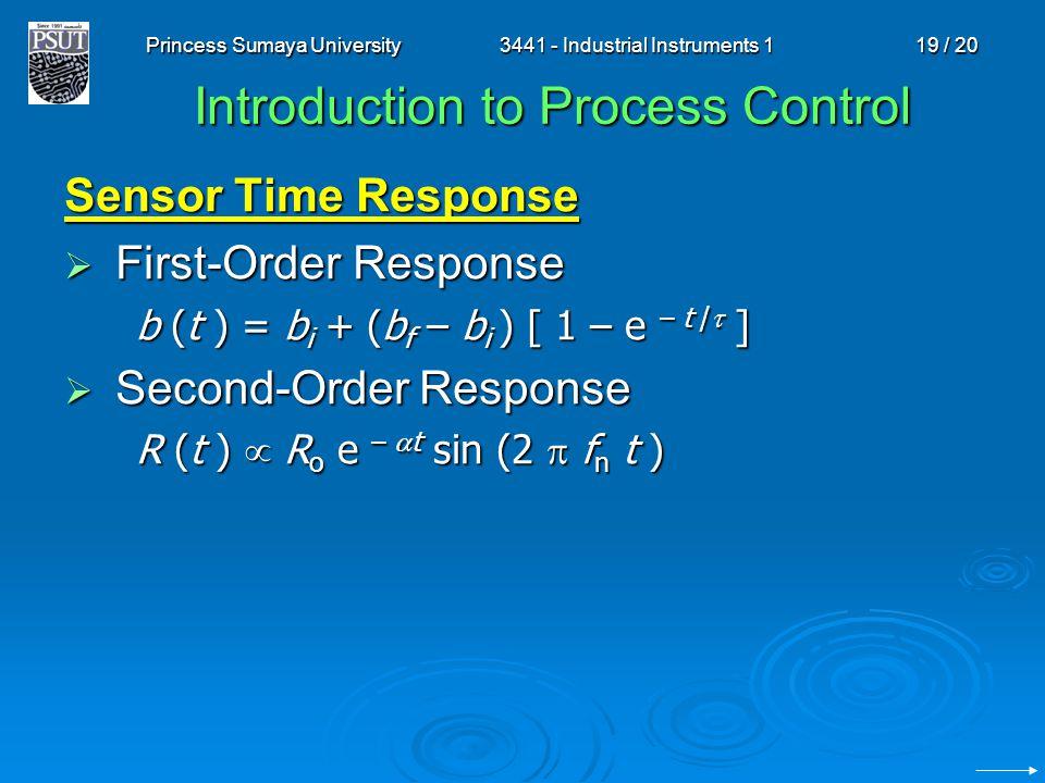 Princess Sumaya University3441 - Industrial Instruments 119 / 20 Introduction to Process Control Sensor Time Response First-Order Response First-Order