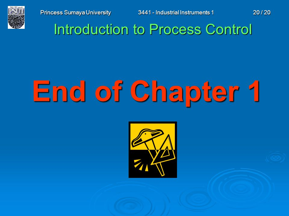 Princess Sumaya University3441 - Industrial Instruments 120 / 20 End of Chapter 1 Introduction to Process Control