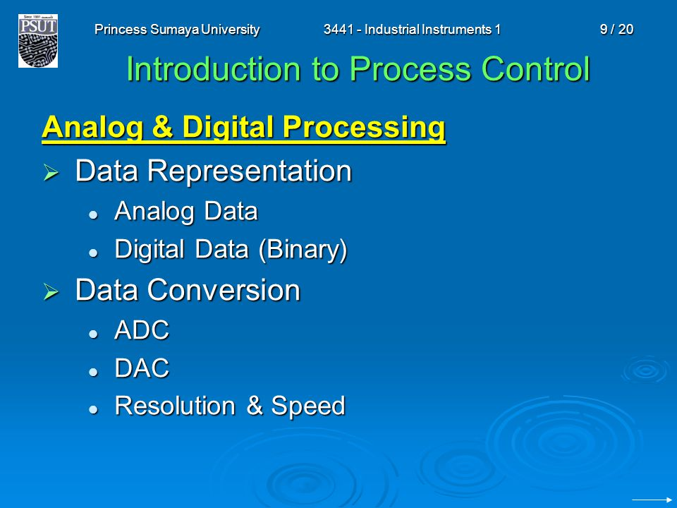 Princess Sumaya University3441 - Industrial Instruments 19 / 20 Introduction to Process Control Analog & Digital Processing Data Representation Data R