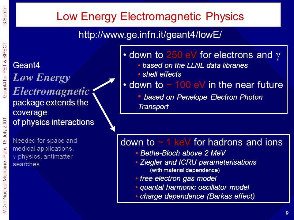 MC in Nuclear Medicine - Paris 16 July 2001 Geant4 for PET & SPECT G.Santin 9 Low Energy Electromagnetic Physics Geant4 Low Energy Electromagnetic pac