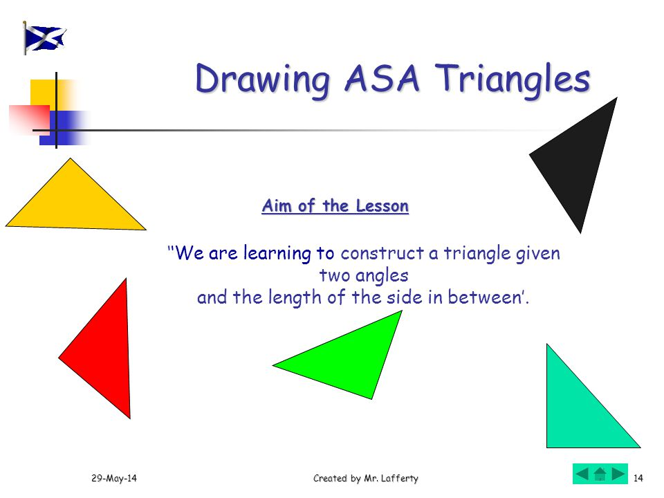 29-May-14Created by Mr. Lafferty14 We are learning to construct a triangle given two angles and the length of the side in between. Aim of the Lesson D