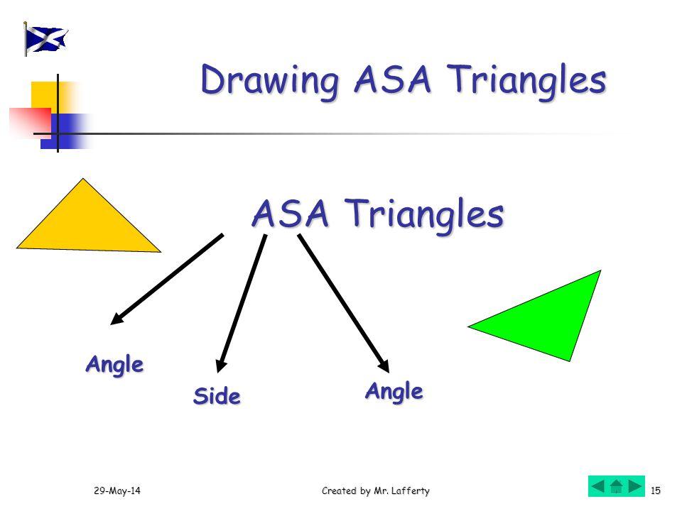 29-May-14Created by Mr. Lafferty15 Drawing ASA Triangles ASA Triangles Side Angle Angle