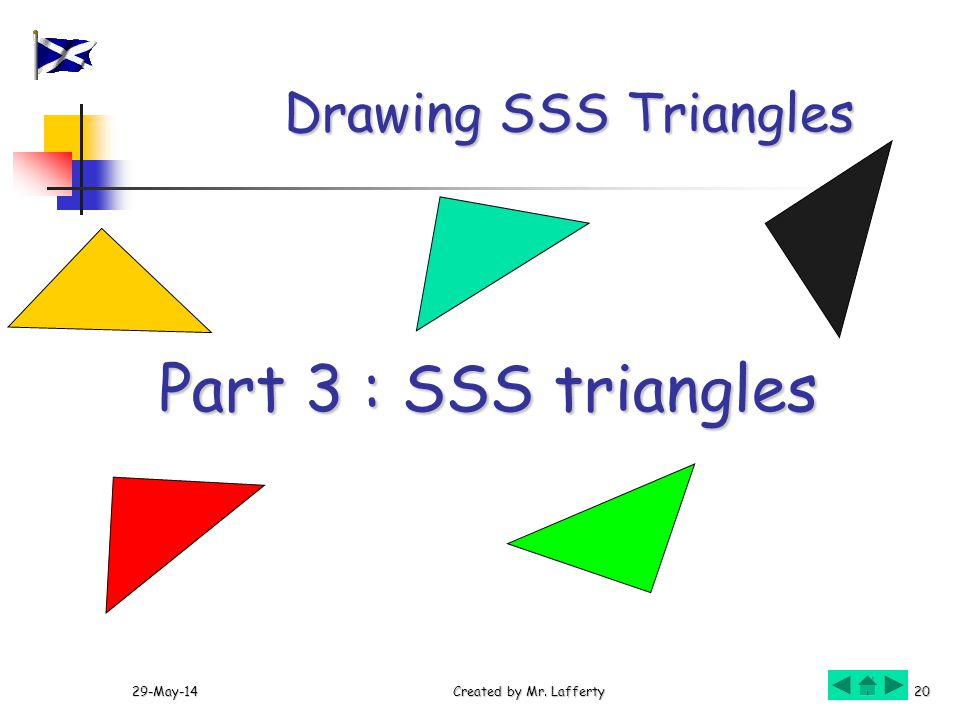29-May-14Created by Mr. Lafferty20 Drawing SSS Triangles Part 3 : SSS triangles