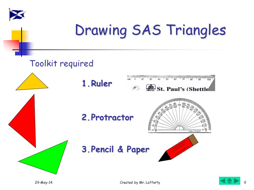 29-May-14Created by Mr. Lafferty9 Drawing SAS Triangles Toolkit required 1.Ruler 2.Protractor 3.Pencil & Paper