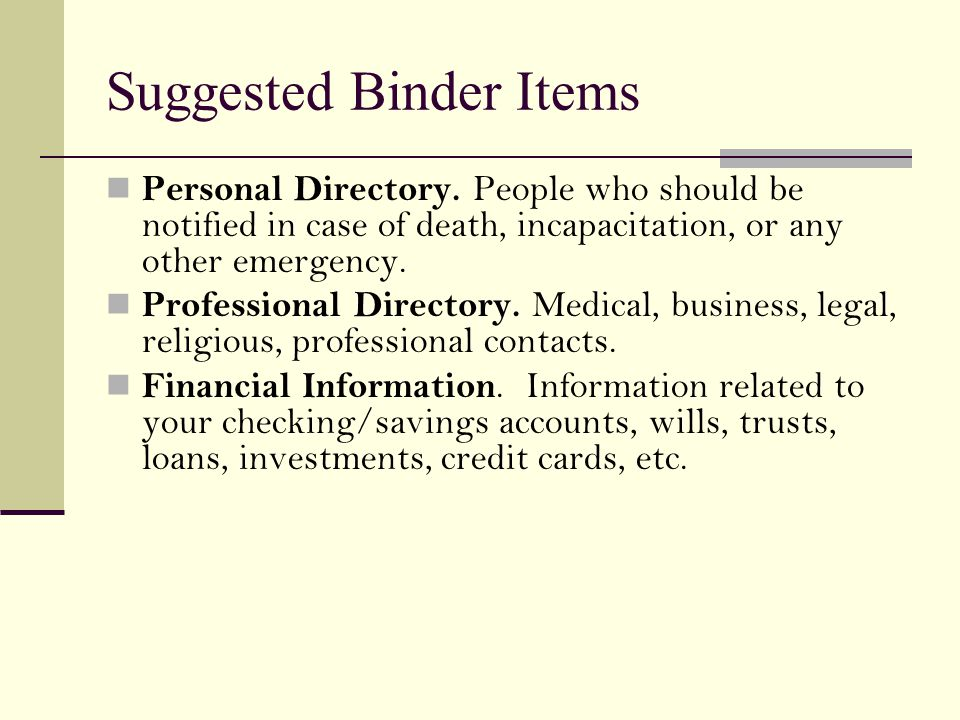 Suggested Binder Items Personal Directory.