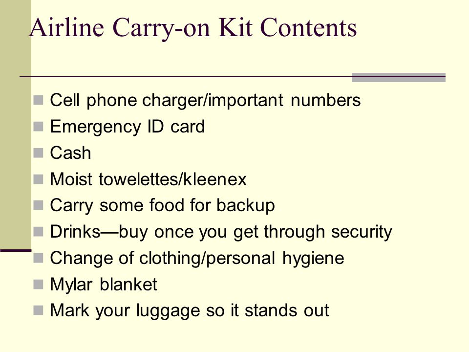 Cell phone charger/important numbers Emergency ID card Cash Moist towelettes/kleenex Carry some food for backup Drinksbuy once you get through securit