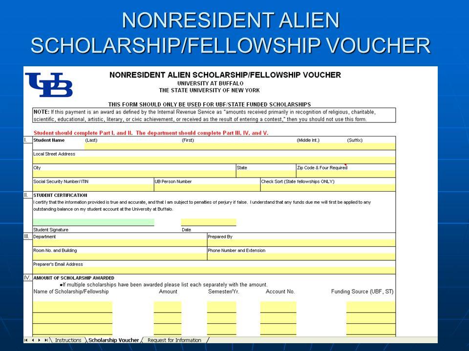 NONRESIDENT ALIEN SCHOLARSHIP/FELLOWSHIP VOUCHER