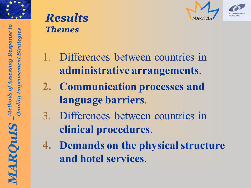 MARQuIS - Methods of Assessing Response to Quality Improvement Strategies Results Themes 1.Differences between countries in administrative arrangements.