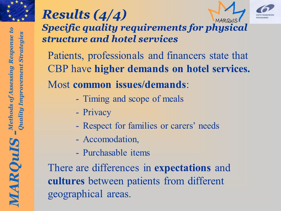 MARQuIS - Methods of Assessing Response to Quality Improvement Strategies Results (4/4) Specific quality requirements for physical structure and hotel services Patients, professionals and financers state that CBP have higher demands on hotel services.