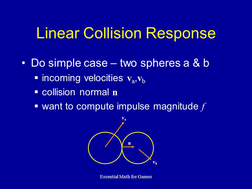 Essential Math for Games Linear Collision Response Do simple case – two spheres a & b incoming velocities v a, v b collision normal n want to compute