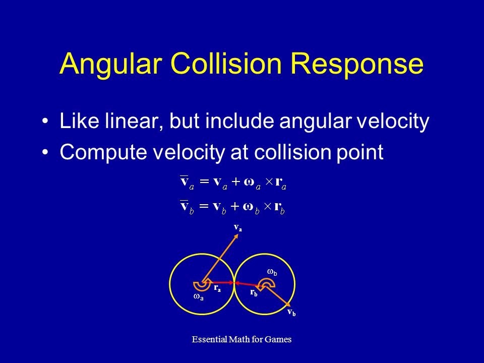 Essential Math for Games Angular Collision Response Like linear, but include angular velocity Compute velocity at collision point vbvb vava rara rbrb