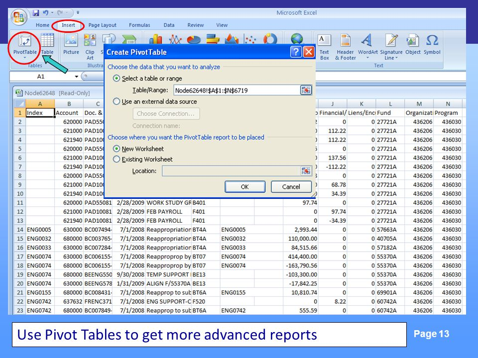 FinLink & Excel Tools Page 13 Use Pivot Tables to get more advanced reports