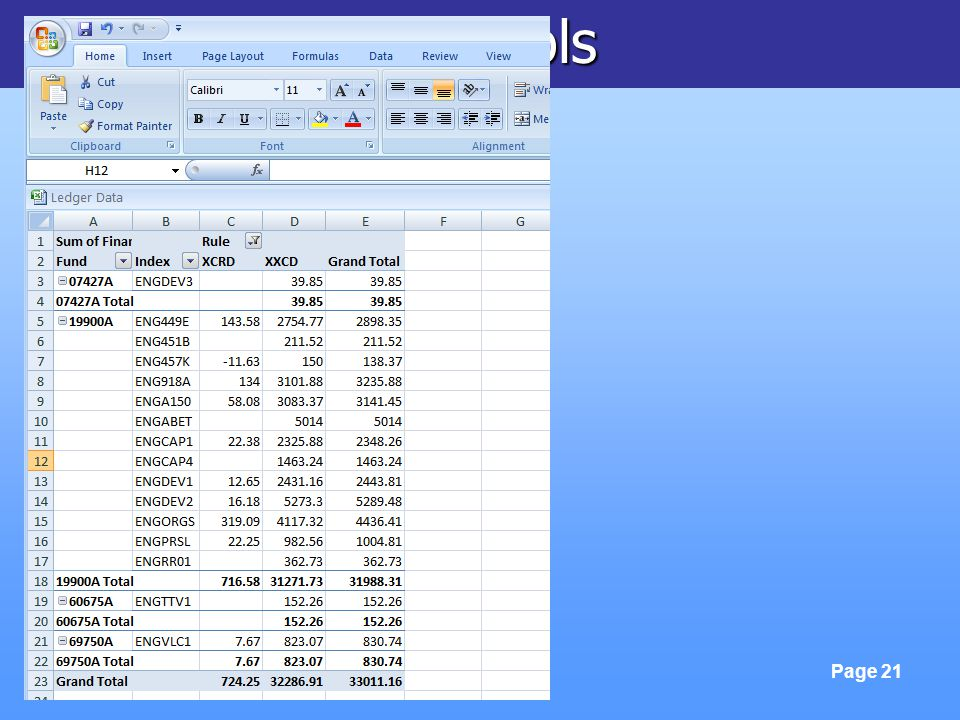 FinLink & Excel Tools Page 21