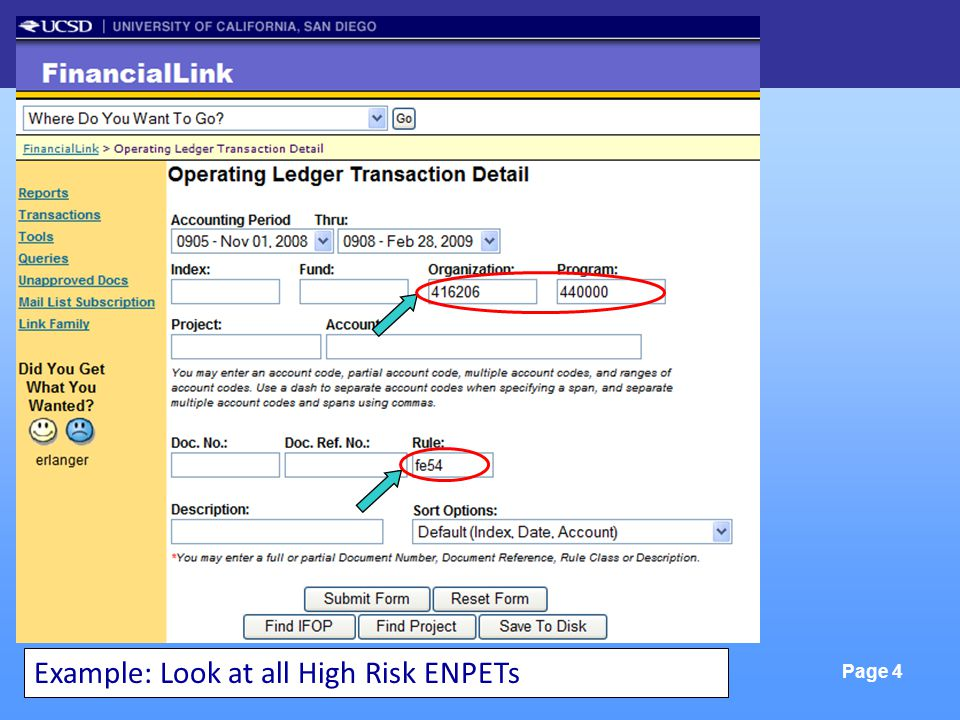 FinLink & Excel Tools Page 4 Example: Look at all High Risk ENPETs