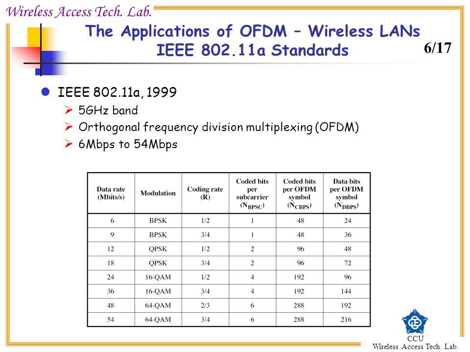 Wireless Access Tech. Lab. CCU Wireless Access Tech. Lab. The Applications of OFDM – Wireless LANs IEEE 802.11a Standards IEEE 802.11a, 1999 5GHz band
