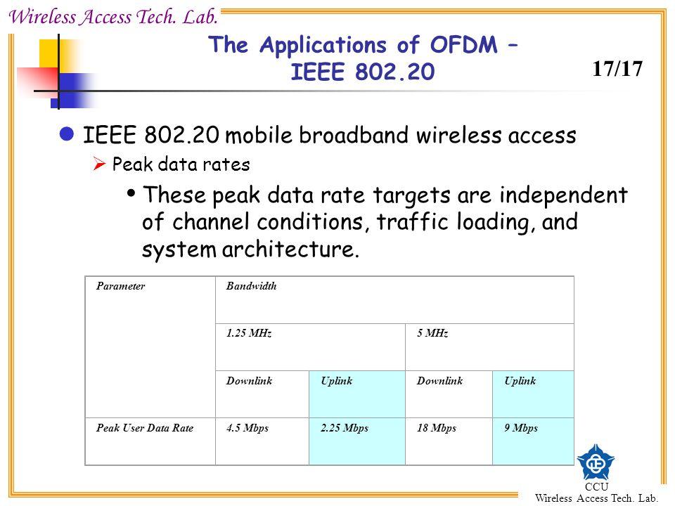 Wireless Access Tech. Lab. CCU Wireless Access Tech. Lab. The Applications of OFDM – IEEE 802.20 IEEE 802.20 mobile broadband wireless access Peak dat